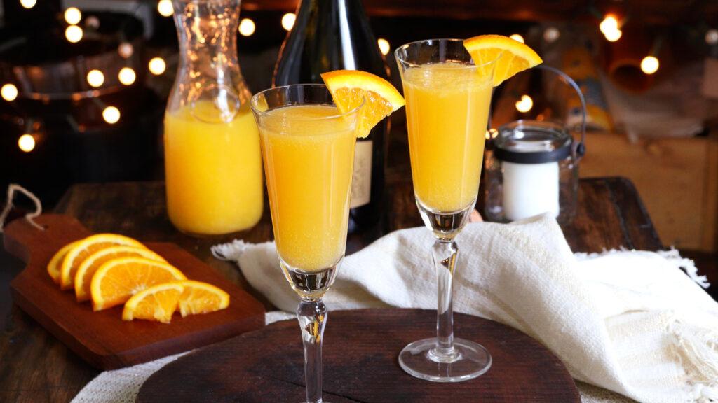 mimosa coctel trago naranja champagne